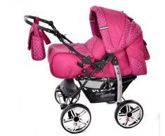 Kamil - Sistema de viaje 3 en 1, silla de paseo, carrito con capazo y silla de coche, RUEDAS ESTÁTICAS y accesorios (Sistema de viaje 3 en 1, rosado, lunares)