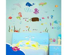 pegatina pared vinilo decorativo adhesivo infantil decoracin bao ventana vidrio mundo submarino tortuga ballena sirena multicolor with adhesivos infantiles