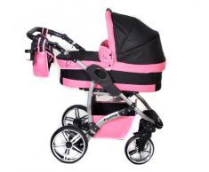 Baby Sportive - Sistema de viaje 3 en 1, silla de paseo, carrito con capazo y silla de coche, RUEDAS GIRATORIAS y accesorios, color negro, rosa