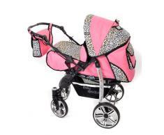 Baby Sportive - Sistema de viaje 3 en 1, silla de paseo, carrito con capazo y silla de coche, RUEDAS GIRATORIAS y accesorios, color rosa, leopardo