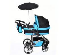 Baby Sportive - Sistema de viaje 3 en 1, silla de paseo, carrito con capazo y silla de coche, RUEDAS GIRATORIAS, parasol y accesorios, color negro, azul