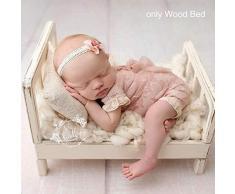 Cama de muñecas blanca de madera recién nacida Cama de cuna de cuna Cama de madera, para sesión de fotos Fondo desmontable Accesorios de estudio Fotografía de bebé Posando