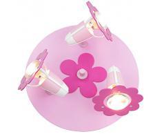 Foco para habitación infantil flor Round 3 rosa