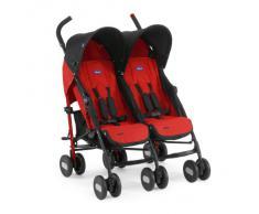 Chicco Echo Twin - Silla de paseo gemelar (13,4 kg, homologada desde los 0 m), color rojo