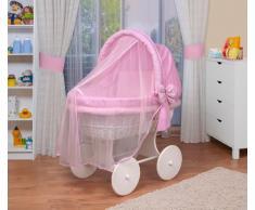 WALDIN Cuna Moisés, carretilla portabebés XXL, 44 colores a elegir,Madera/ruedas lacado en blanco,color textil rosa/a cuadros