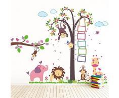 WALPLUS TM: Pegatinas para la Pared extraíbles, Medida de Altura Elefantes enormes con Monos-niños pequeños