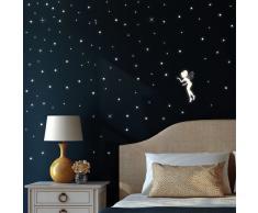 """Lámina Pared """"Elfo Fluorescente"""" de Lámina Autoadhesiva Iluminada (Brilla en la Oscuridad) para un Fantástico Cielo Estrellado en Habitación Infantil"""