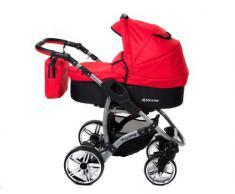 Baby Sportive Allivio - Sistema de viaje 3 en 1, silla de paseo, carrito con capazo y silla de coche, RUEDAS GIRATORIAS y accesorios, color rojo