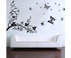 Romántica Pegatina Calcomanía para decorar la pared Árbol y Mariposas
