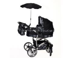 Twing - Sistema de viaje 3 en 1, silla de paseo, carrito con capazo y silla de coche, RUEDAS GIRATORIAS y accesorios (Sistema de viaje 3 en 1, negro, verde)