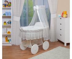 WALDIN Cuna Moisés, carretilla portabebés XXL, 24 modelos a elegir,Madera/ruedas lacado en blanco,color textil blanco/blanco
