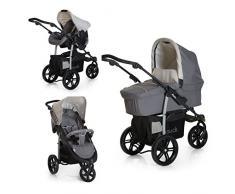 Hauck Viper SLX Trio Set - Carro deportivo de bebes 3 piezas de capazo, sillita y Grupo 0+ para recién nacidos hasta bebes/niños de 15 kg, sistema de arnés de 3 y de 5 puntos, color Smoke Grey