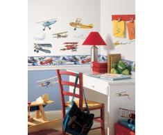 RoomMates - Cenefa adhesiva reutilizable para habitación infantil, diseño de aviones antiguos