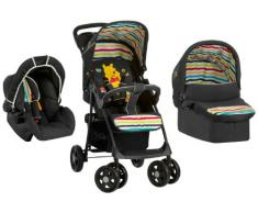 Hauck Shopper Trio Set - Carrito con capazo y grupo 0+, diseño Pooh Tidy Time, color negro/rayas coloridas