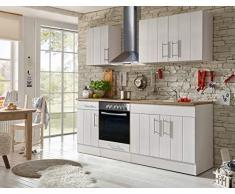 respekta Cocina Cocina Pequeña Bloque de Cocina Cocina Cocina Amueblada y Equipada Cocina Totalmente Equipada 210 cm en Blanco