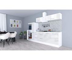 respekta Cocina Pequeña Cocina Bloque de Cocina Cocina Amueblada y Equipada Alto Brillo 300cm Blanco - Blanco, 270 cm