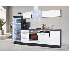 respekta Cocina Pequeña Cocina Bloque de Cocina Cocina Amueblada y Equipada Alto Brillo 280 cm Roble - Blanco, 280 cm