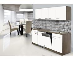 Respekta - Cocina amueblada, encimera de 195 cm, replica de roble York color blanco