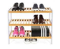 Songmics Multiuso Zapatero de 3 pisos estantería para zapatos de bambú Organizador para entrada pasillo LBS03H