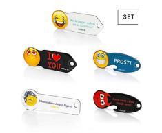 Code24 Llavero Buscador de Llaves con Chip para Carrito de la Compra, con Emoticonos, Código de Registro incluido con Servicio de Buscador de Llaves, con Medidor de Profundidad de Perfil, Set de 5