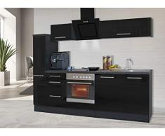 respekta Cocina Pequeña Cocina Bloque de Cocina Cocina Amueblada y Equipada Alto Brillo 240 cm Roble - Negro, 240 cm
