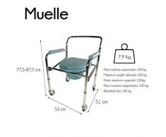 Mobiclinic, Silla con WC, Plegable, Reposabrazos, Ajustable, Reposabrazos, Altura regulable, Con tapa, Muelle