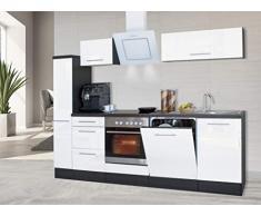 respekta Cocina Pequeña Cocina Bloque de Cocina Cocina Amueblada y Equipada Alto Brillo 250 cm Roble - Blanco, 220 cm