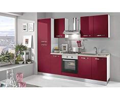 Cocina completa - Lado izquierdo cm. 255 x 60 x 216h - Incluye: campana extractora, horno ventilado, lavabo, frigorífico, frigorífico, placa de cocción a gas con 4 fuegos, n.° 6 y un cajón.