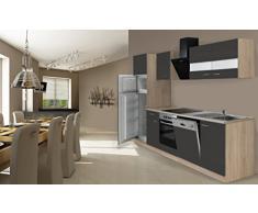 respekta Cocina Completa, 280 cm, Roble, Incluye Nevera y congelador, vitrocerámica & lavavajillas
