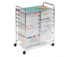Honey Can Do CRT-01683 - Carrito de 12 cajones con ruedas, 64,09 x 38,7 cm, color blanco