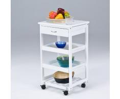 SoBuy® Carrito de servir, carrito de cocina, carrito con cajón, FKW01-W(blanco), L42 x P36 x A75cm