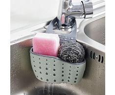 Bugou Utensilios de cocina fregadero bolsa de drenaje estante esponja piscina almacenamiento suministros canasta de drenaje (Beige)