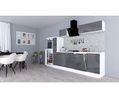respekta Cocina Pequeña Cocina Bloque de Cocina Cocina Amueblada y Equipada Alto Brillo 310cm Blanco - Gris, 280 cm