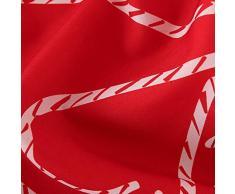 Deconovo Mantel Mesa Rectangular Mantel de Navidad Decoración Dibujo Bastón 140 x 240 cm Rojo