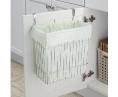 mDesign Cubo de basura de cocina para bolsas de 15l - Contenedor de reciclaje con cromado, también apropiado para el baño - Bote de residuos para colgar en el interior de la puerta del armario.