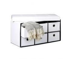 Relaxdays - Banco/taburete plegable con 6 compartimentos de almacenamiento, 38 x 76 x 38 cm, cuero Sintético, plegable, color blanco