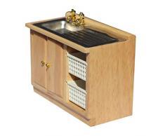 Healifty Fregadero de la casa de muñecas Modelo de Mini Fregadero pequeño Lavabo gabinete 1:12 Muebles de la casa