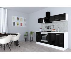 respekta Cocina Pequeña Cocina Bloque de Cocina Cocina Amueblada y Equipada Alto Brillo 210cm Blanco - Negro, 210 cm
