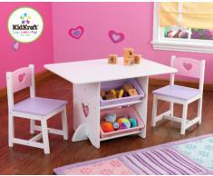 Kidkraft 26913 - Juego de muebles infantiles de mesa y 2 sillas diseño de corazón, color pastel