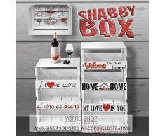 Carrito de cocina multiusos trasportabile Shabby Trolley Box 30 x 40 cm h.85 Welcome