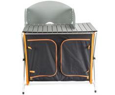 Ultrasport - Cocina para camping (con armario plegable, 3 compartimentos, encimera, protección contra el viento y bolsa para guardarlo)