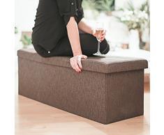 Relaxdays 10019049_93 - Banco plegable con espacio de almacenamiento hecho de lino con medidas 38 x 114 x 38 cm capacidad de 140 L asiento baúl, color marrón