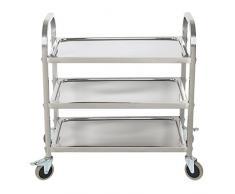 HLC Carro de Servicio con ruedas y tres bandejas para cocina, hotel, hospital y oficina, acero inoxidable(95*50*95cm), color plata, nuevo modelo!