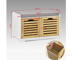 SoBuy® Banco de almacenamiento con cojines y 2 cubos de entrada del gabinete Dresser zapato cómodo banco FSR23-K-WN, ES