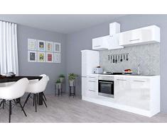 respekta Cocina Pequeña Cocina Bloque de Cocina Cocina Amueblada y Equipada Alto Brillo 240cm Blanco - Blanco, 240 cm