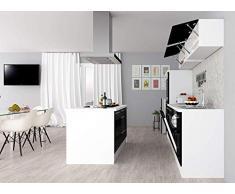 respekta Isla de Cocina Cocina Pequeña Cocina Bloque de Cocina Cocina Amueblada y Equipada Alto Brillo 310cm Blanco - Negro, 310 cm