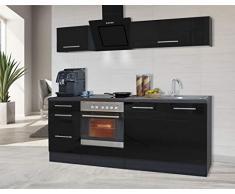 respekta Cocina Pequeña Cocina Bloque de Cocina Cocina Amueblada y Equipada Alto Brillo 210 cm Roble - Negro, 210 cm