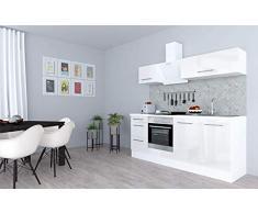 respekta Cocina Pequeña Cocina Bloque de Cocina Cocina Amueblada y Equipada Alto Brillo 210cm Blanco - Blanco, 210 cm