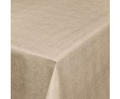 Mantel de hule, mantel para mesa de hule con aspecto de lino, lavable, toalla, beige, 140 x 140cm