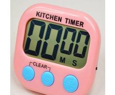 Revesun cocina módulo de temporizador de cocina digital con pantalla LCD de gran tamaño y botones, Loud Alarma, cordón, fuerte base magnética y soporte plegable, soporta contar hasta y cuenta atrás (color blanco)
